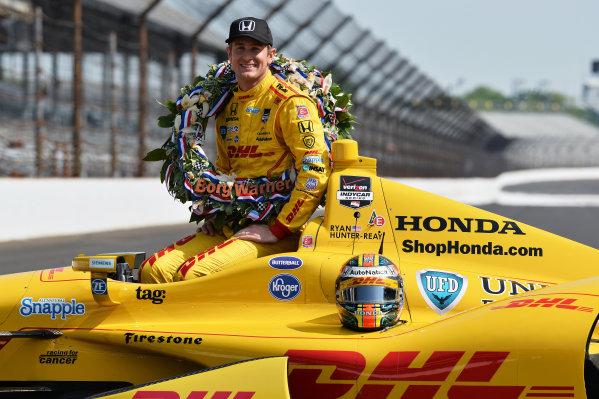 Indy 500 winner Ryan Hunter-Reay (USA) Andretti Autosport.Verizon IndyCar Series, Rd4, Indianapolis 500, Indianapolis, USA, 26 May 2014.