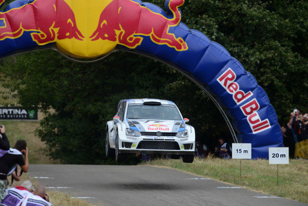 Jari-Matti Latvala (FIN) and Miikka Anttila (FIN), VW Polo R WRC on stage 11.FIA World Rally Championship, Rd9, ADAC Rally Germany, Day Three, Trier, Germany, 24 August 2013.