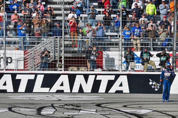 2017 NASCAR XFINITY Series - Rinnai 250 Atlanta Motor Speedway, Hampton, GA USA Saturday 4 March 2017 Kyle Busch, NOS Energy Drink Toyota Camry celebrates his win with a burnout World Copyright: Nigel Kinrade/LAT Images ref: Digital Image 17ATL1nk05646