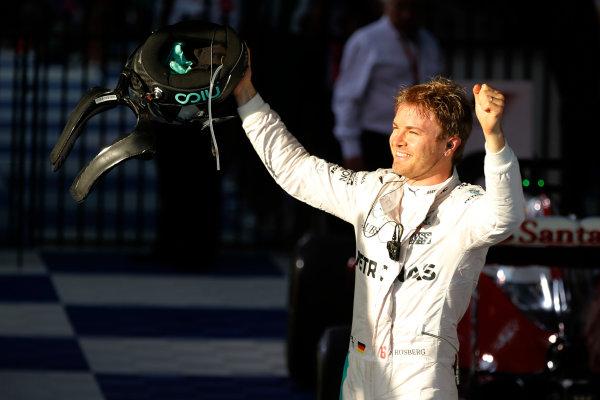 Albert Park, Melbourne, Australia. Sunday 20 March 2016. Nico Rosberg, Mercedes F1 W07 Hybrid celebrates after winning the race. World Copyright: Glenn Dunbar/LAT Photographic ref: Digital Image _89P5771