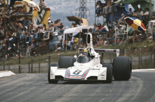 1975 South African Grand Prix  Kyalami, South Africa. 27th February - 1st March 1975.  Carlos Pace, Brabham BT44B Ford, 4th position.  Ref: 75SA02. World copyright: LAT Photographic