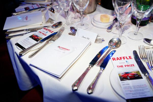 2015 Autosport Awards. Grosvenor House Hotel, Park Lane, London. Sunday 6 December 2015. Damon Hill's table. World Copyright: Adam Warner/LAT Photographic. ref: Digital Image _L5R8912