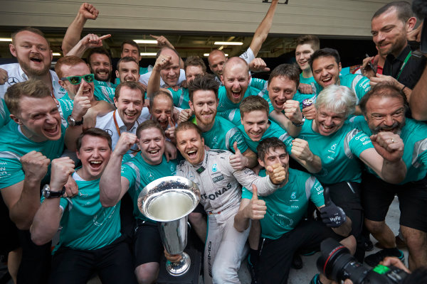Shanghai International Circuit, Shanghai, China. Sunday 17 April 2016. Nico Rosberg, Mercedes AMG, 1st Position, and the Mercedes team celebrate victory after the race. World Copyright: Steve Etherington/LAT Photographic ref: Digital Image SNE22039