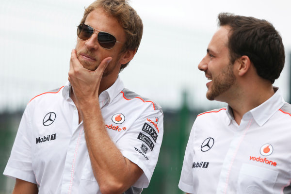 Interlagos, Sao Paulo, Brazil. Friday 22nd November 2013.  Jenson Button, McLaren. World Copyright: Charles Coates/LAT Photographic. ref: Digital Image _N7T5308