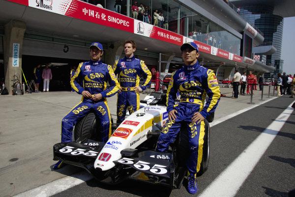 BAR Honda drivers: Jenson Button, Anthony Davidson (test driver) and Takuma Sato.
