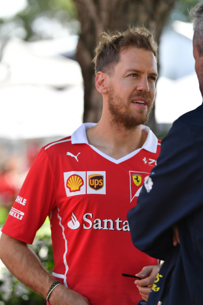Sebastian Vettel (GER) Ferrari at Formula One World Championship, Rd1, Australian Grand Prix, Preparations, Albert Park, Melbourne, Australia, Thursday 23 March 2017.