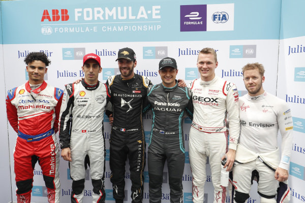 Pascal Wehrlein (DEU), Mahindra Racing, Sébastien Buemi (CHE), Nissan e.Dams, Jean-Eric Vergne (FRA), DS TECHEETAH, Mitch Evans (NZL), Panasonic Jaguar Racing, Maximilian Günther (DEU), Dragon Racing and Sam Bird (GBR), Envision Virgin Racing after super pole