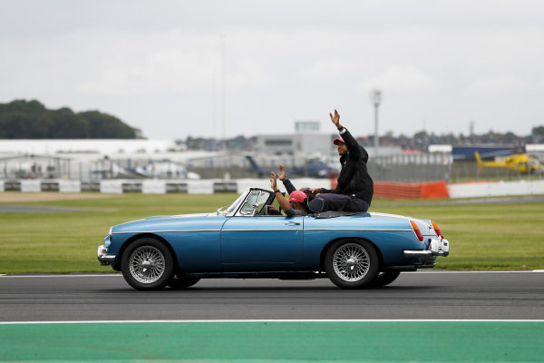 Lewis Hamilton, Mercedes AMG F1 on the drivers parade waving to fans