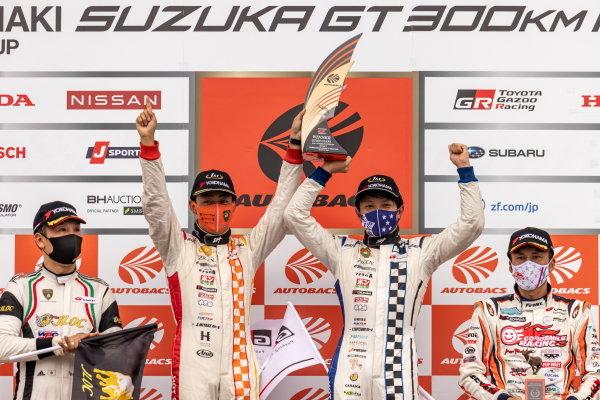 GT300 Winners Atsushi Miyake & Yuui Tsutsumi, Max Racing Takanoko-no-yu, Toyota GR Supra GT300, celebrate on the podium