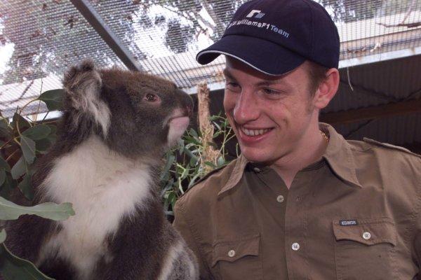 2000 Australian Grand Prix.Albert Park, Melbourne, Australia.10-12 March 2000.Jenson Button (Williams BMW) met with a Koala Bear at the city zoo in Melbourne.World Copyright - Jennings/LAT Photographic