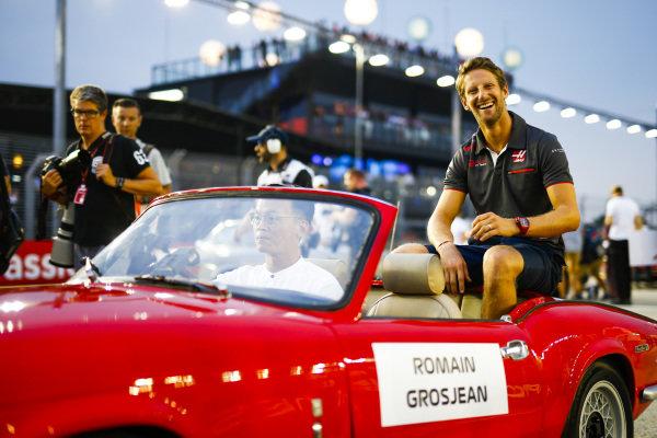 Romain Grosjean, Haas F1 Team, at the drivers parade
