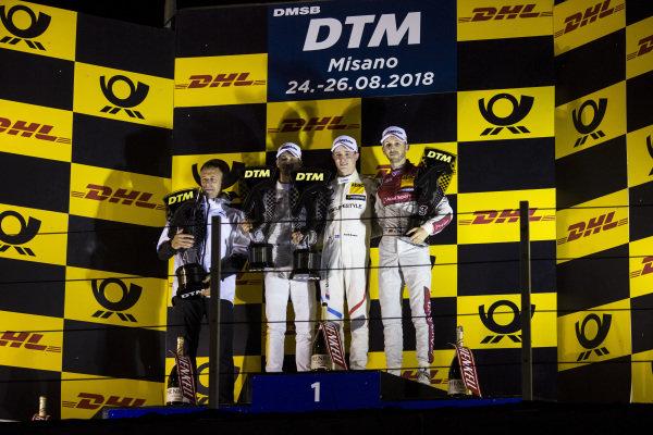 Podium: Race winner Joel Eriksson, BMW Team RBM, second place Edoardo Mortara, Mercedes-AMG Team HWA and third place René Rast, Audi Sport Team Rosberg.