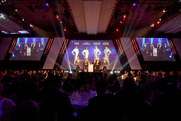 BRDC Racing Driver of the Year nominees Enaam Ahmed, Jamie Chadwick, Johnathan Hoggard and Ayrton Simmons