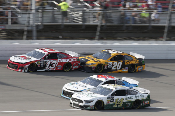 #14: Clint Bowyer, Stewart-Haas Racing, Ford Mustang One Cure #13: Ty Dillon, Germain Racing, Chevrolet Camaro K&L Ready Mix #20: Erik Jones, Joe Gibbs Racing, Toyota Camry DeWalt #43: Darrell Wallace Jr., Richard Petty Motorsports, Chevrolet Camaro Victory Junction