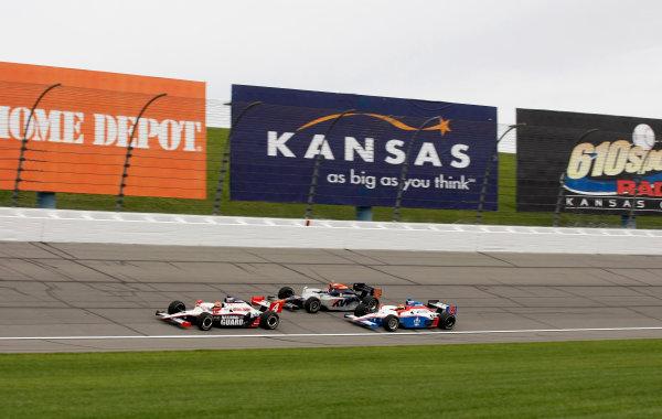 30 April - 1 May, 2010, Kansas City, Kansas, USADan Wheldon leads Mario Moraes and Alex Lloyd.©2010 Phillip Abbott, USALAT Photographic