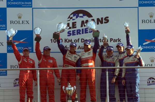 LMP2 podium and results:1st: Thomas Erdos (BRA) / Mike Newton (GBR) RML, centre.2nd: Marc Rostan (FRA) / Pierre Bruneau (FRA) PiR, left.3rd: Bill Binnie (USA) / Sam Hancock (GBR) / Allen Timpany (GBR) Binnie Motorsports, right.Le Mans Series, Rd4, Donington Park, England, 28 August 2006.DIGITAL IMAGE