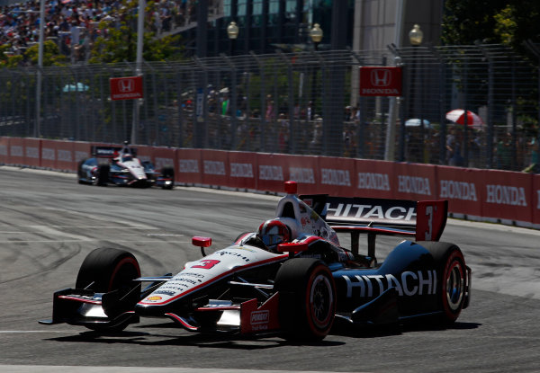 14 July, 2013,  Toronto, Ontario, CAN Helio Castroneves leads Will Power ©2013, Phillip Abbott LAT Photo USA