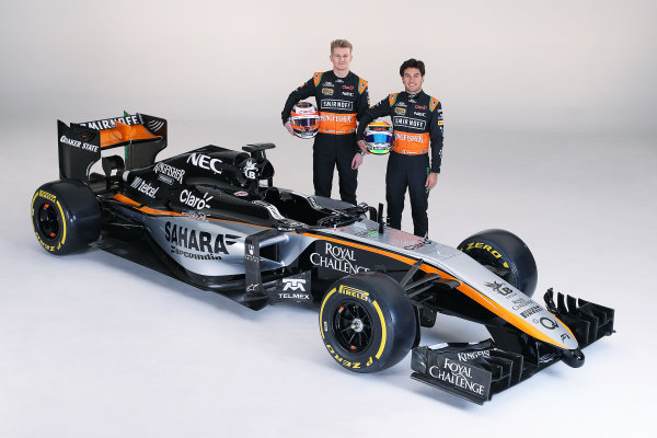 Force India VJM08 Livery Reveal Museo Soumaya, Mexico City, Mexico Wednesday 21 January 2015. World Copyright: Sahara Force India (Copyright Free) ref: Digital Image jm1521ja05