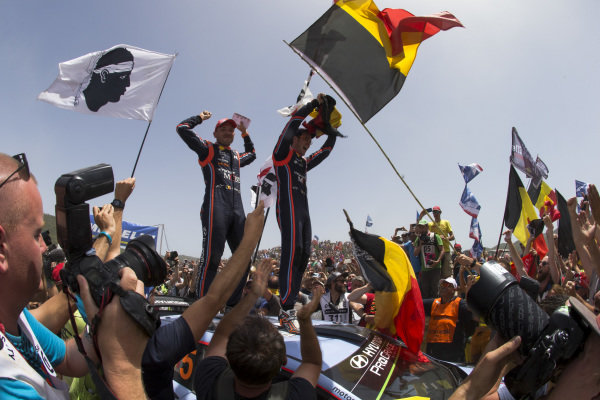 Thierry Neuville and Nicolas Gilsoul in the immediate aftermath of victory on Rally d'Italia Sardinia