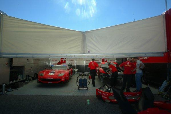 2003 ALMS Petit LeMansProdrive Ferrari Paddock areaSeptember 15 - 18, 2003, Winder, GA, USA,Copyright: Richard Dole/LAT Photographic