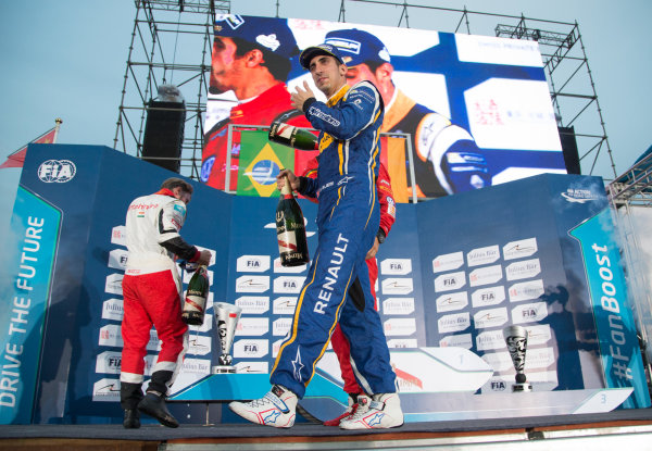 FIA Formula E Championship 2015/16. Beijing ePrix, Beijing, China. Race Sebastien Buemi, RENAULT E.DAMS on the podium Beijing, China, Asia. Saturday 24 October 2015 Photo:  / LAT / FE ref: Digital Image _L1_4431