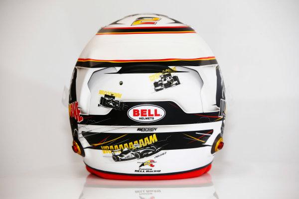 Spa Francorchamps, Belgium.  Thursday 24 August 2017. Stoffel Vandoorne, McLaren, crash helmet detail, showing a new design for his home grand prix. World Copyright: Andy Hone/LAT Images  ref: Digital Image _ONY3057