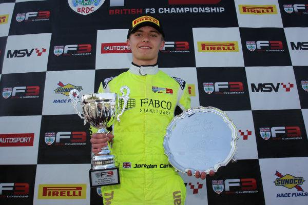 2017 BRDC British F3 Championship, Donington Park, Leicestershire. 23rd - 24th September 2017. Jordan Cane (GBR)  World Copyright: JEP/LAT Images