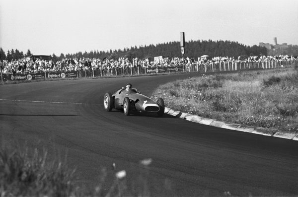 Nurburgring, Germany. 4 August 1957.Juan Manuel Fangio (Maserati 250F), 1st position, action.World Copyright: LAT PhotographicRef: 480-23-23A