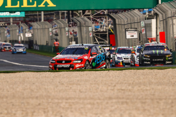 Australian Supercars Series Albert Park, Melbourne, Australia. Friday 24 March 2017. Race 2. Will Davison, No.19 Holden Commodore VF, TEKNO Woodstock Racing, leads Cameron Waters, No.6 Ford Falcon FG-X, The Bottle-O Racing Team and Monster Energy Racing. World Copyright: Zak Mauger/LAT Images ref: Digital Image _56I5952