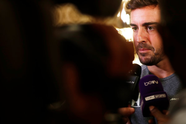 Bahrain International Circuit, Sakhir, Bahrain.  Wednesday 12 April 2017. Fernando Alonso talks to the media after announcing his deal to race in the 2017 Indianapolis 500 in an Andretti Autosport run McLaren Honda car. World Copyright: Glenn Dunbar/LAT Images ref: Digital Image _31I6962