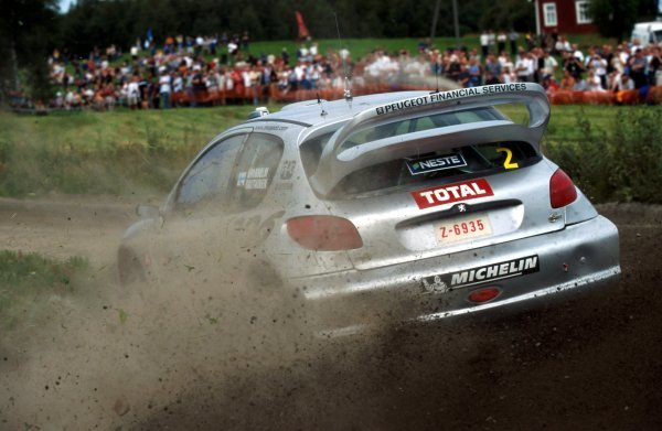Marcus Gronholm (FIN) Peugeot 206 WRC. FIA World Rally Championship, Rd9, Neste Rally Finland, Finland. 8-11 August 2002.  BEST IMAGE