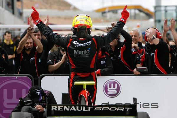 ALCANIZ (ESP) MAY 4-6 2012 -  First Round of the Formula Renault 3 5 Series 2012 at Motorland Aragon. #24 Nick Yelloly (GBR), Comtec Racing. Podium. © 2012 Ronald Fleurbaaij / LAT Photographic