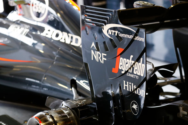 Silverstone, Northamptonshire, UK Friday 08 July 2016. Rear of the McLaren MP4-31 Honda. World Copyright: Steven Tee/LAT Photographic ref: Digital Image _H7I4656