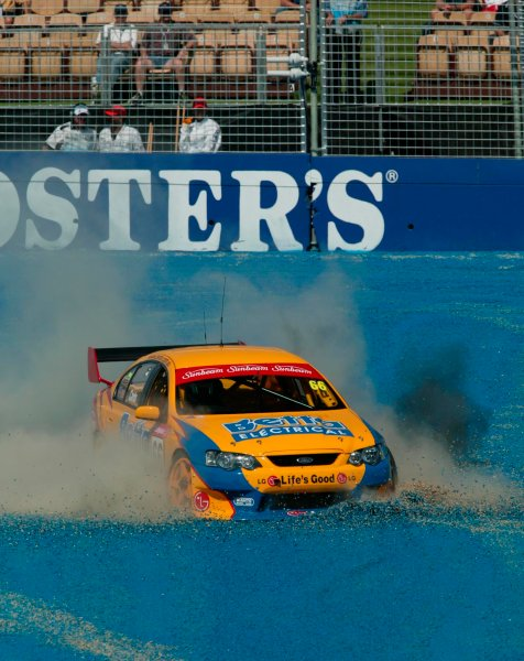 2003 Australian V8 Supercars MelbourneVictoria,Australia 9th March 2003Ford driver Dean Canto puts his BA Falcon into the gravel during the V8 Supercars at the 2003 Australian GP.World Copyright: Mark Horsburgh/LATPhotographic ref: Digital Image Only