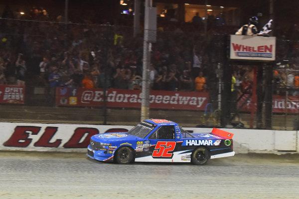 #52: Stewart Friesen, Halmar Friesen Racing, Chevrolet Silverado Halmar International drives under the checkered flag to win
