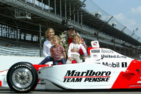 Gil de Ferran (BRA) Penske Racing G-Force Toyota, with wife Angela (GBR), daughter Anna and son Luke, celebrates his first Indy 500 victory.Indy Racing League, Indianapolis 500, Indianapolis, USA, 26 May 2003.DIGITAL IMAGE