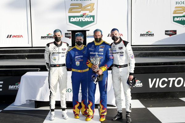 #75 Sun Energy 1 Mercedes-AMG GT3, GTD: Kenny Habul, Luca Stolz, Raffaele Marciello, Mikael Grenier victory lane