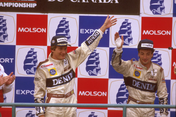 Montreal, Quebec, Canada.16-18 June 1989.Thierry Boutsen and teammate Riccardo Patrese (both Williams Renault) 1st and 2nd positions respectively, celebrate on the podium.Ref-89 CAN 02.World Copyright - LAT Photographic