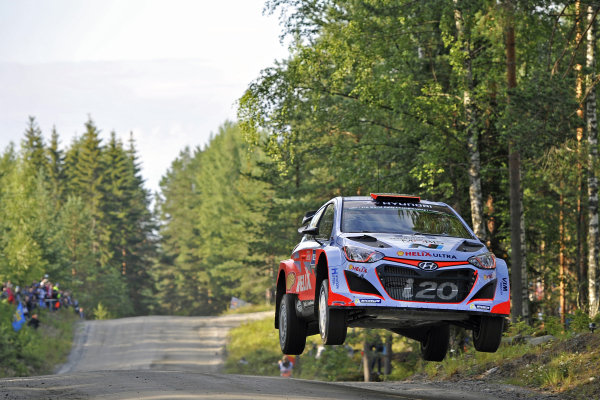 Dani Sordo (ESP) / Marc Marti (ESP) Hyundai i20 WRC  at FIA World Rally Championship, R8, Neste Oil Rally Finland, Preparations & Shakedown, Jyvaskyla, Finland, Thursday 30 July 2015.