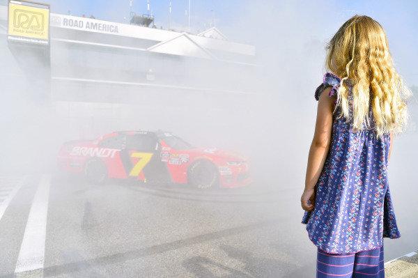 #7: Justin Allgaier, JR Motorsports, Chevrolet Camaro BRANDT Professional Agriculture celebrates his win