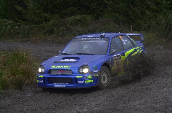 2002 World Rally Championship.Network Q Rally of Great Britain, Cardiff. November 14-17. Petter Solberg during shakedown.Photo: Ralph Hardwick/LAT