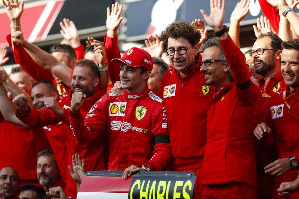 Charles Leclerc, Ferrari, celebrates victory with Mattia Binotto, Team Principal Ferrari, Laurent Mekies, Sporting Director, Ferrari and other colleagues