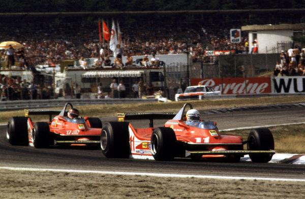 Hockenheim, Germany.27-29 July 1979.Jody Scheckter leads Gilles Villeneuve (both Ferrari 312T4's).Ref-35mm 79 GER 04.World Copyright - LAT Photographic