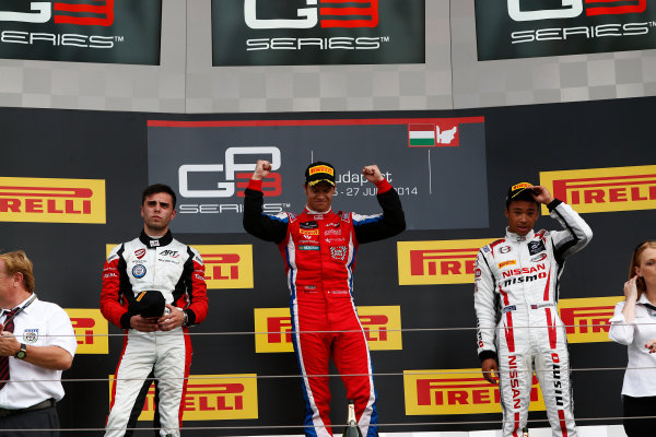 2014 GP3 Series Round 5. Hungaroring, Budapest, Hungary. Sunday 27 July 2014. Patric Niederhauser (SUI, Arden International), Dino Zamparelli (GBR, ART Grand Prix) & Jann Mardenborough (GBR, Arden International)  Photo: Sam Bloxham/GP3 Series Media Service. ref: Digital Image _SBL8755