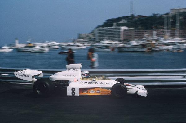 Monte Carlo, Monaco.31/5-3/6 1973.Pete Revson (McLaren M23 Ford) 5th position.Ref-35mm 73 MON 09.World Copyright - LAT Photographic