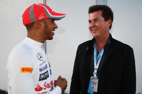 (L to R): Lewis Hamilton (GBR) McLaren and Simon Fuller (GBR) 19 Management. Formula One World Championship, Rd1, Australian Grand Prix, Qualifying, Albert Park, Melbourne, Australia, Saturday 17 March 2012. BEST IMAGE
