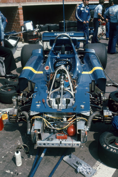 Zolder, Belgium. 14th - 16th May 1976. The six wheeled Tyrrell P34-Ford (Project 34) chassis, in the paddock, portrait.  World Copyright: LAT Photographic. Ref: 76 BEL 06.