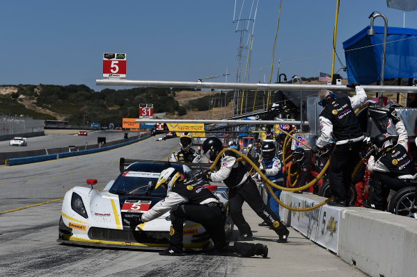 1-3 May, 2015, Monterey, California, USA 5, Chevrolet, Corvette DP, P, Joao Barbosa, Christian Fittipaldi pit stop ?2015 Scott R LePage  LAT Photo USA