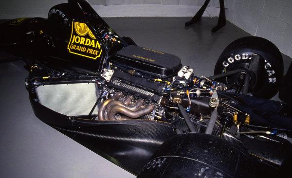 Engine of the Jordan Ford 911. Formula One Testing, Silverstone, England, 27-29 November 1990