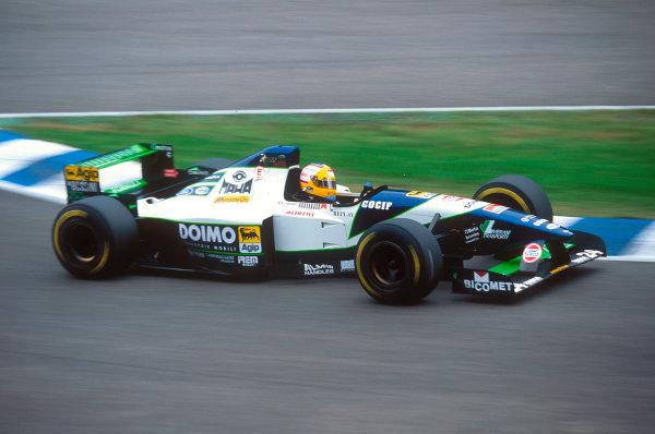 Silverstone, England.14-16 July 1995.Luca Badoer (Minardi M195 Ford) 10th position.Ref-95 GB 35.World Copyright - LAT Photographic